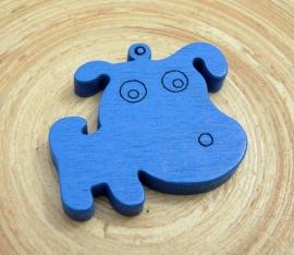 Blauwe bedel hond van hout