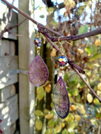 Filigraan oorbellen en grote facet geslepen half multicolor Crystal kralen