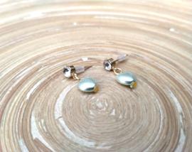 Goudkleurige oorstekers met transparante strass en mintgroene hartjes