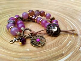 Bronskleurige en lila/paarse armband