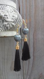 Zwarte/grijze keramieke oorbellen