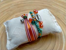 3-delige set armbandjes in oranje en groen