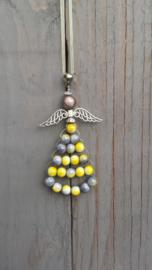 Beschermengel kersthanger in grijs en geel
