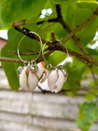 Creolen oorbellen klein met kauri schelpjes