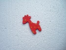 Rode houten giraf bedel