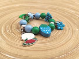 Blauw en groen kinderarmbandje op elastiek