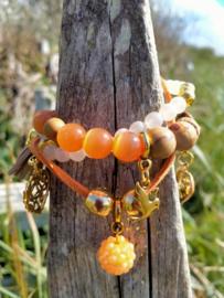 3 delige Oranje/bruine armband