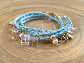 Blauwe wikkelarmband van gevlochten imitatie leer