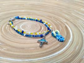 Dubbel enkel bandje blauw en geel