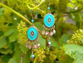 Bruin/turquoise oorbellen