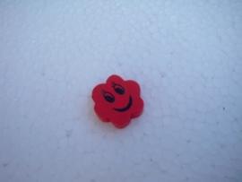 Houten bloemetje met gezichtje - rood