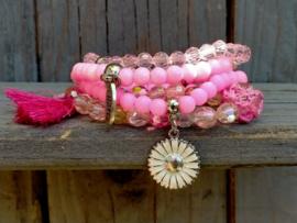 4 delige set van roze armbandjes