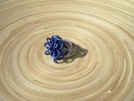 Wire ring blauw/zilverlook. Maat 17
