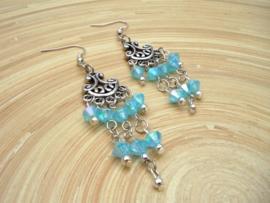 Blauwe oorbellen Ibiza style