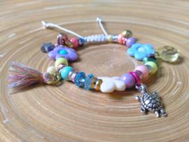 Zomerse multicolor Chamballa armbandje in pasteltinten