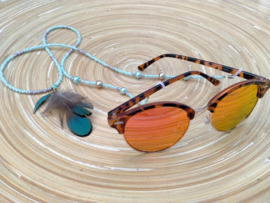 turquoise/zandkleurige brillenkoord
