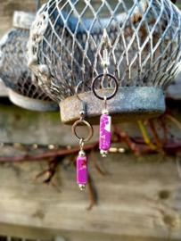 Keramieke oorbellen in paars en zilver