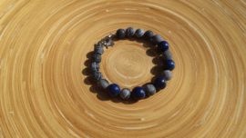 Heren en dames armband met Lapis en frosted crackle agaat