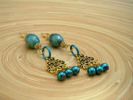Turqoise keramieke oorbellen