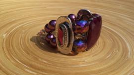 Armband met grote facet geslepen glaskralen