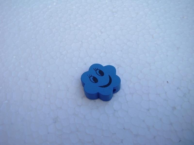 Houten bloemetje met gezichtje - blauw