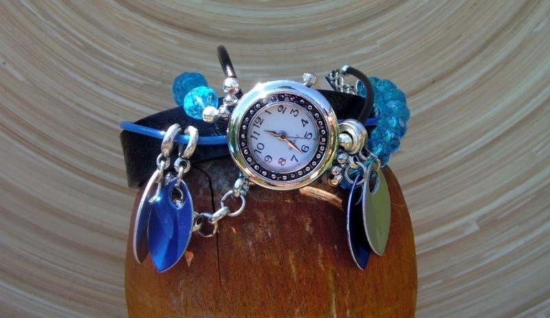Horloge blauw/zwart