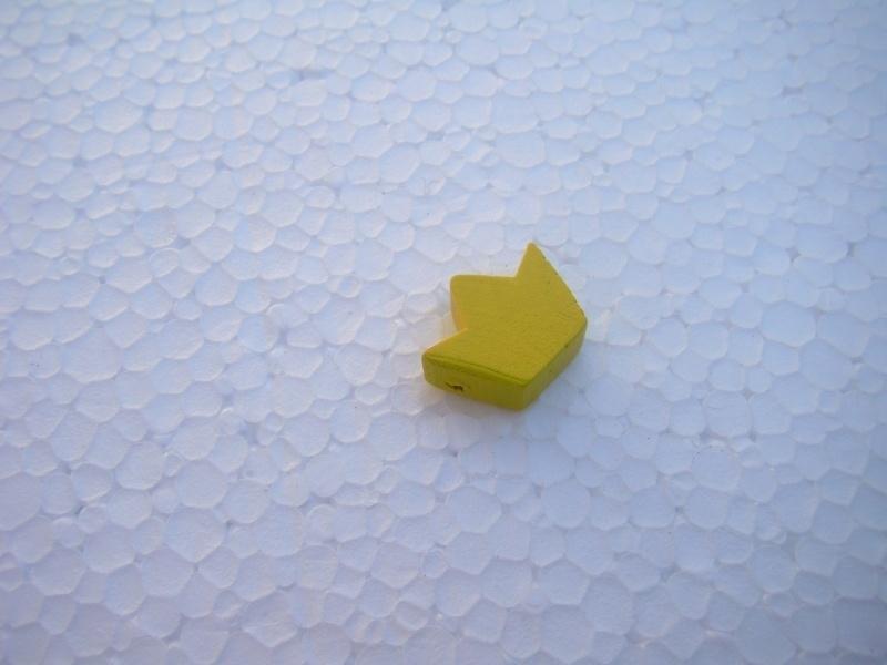 Houten kroontje - geel