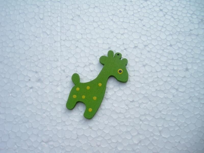 Groene houten giraf bedel