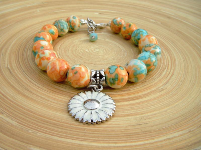 Armband met oranje/turquoise kralen