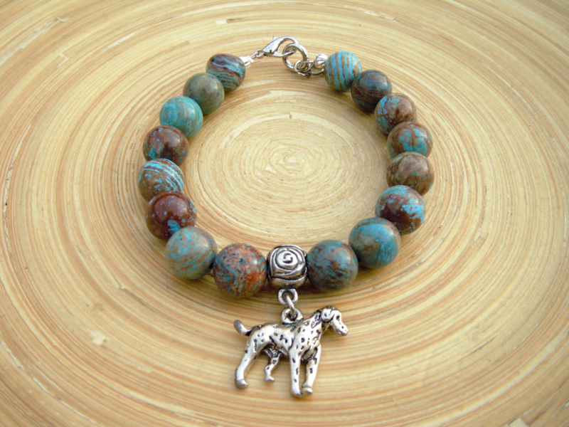 Blauw/bruine armband van half edelsteen