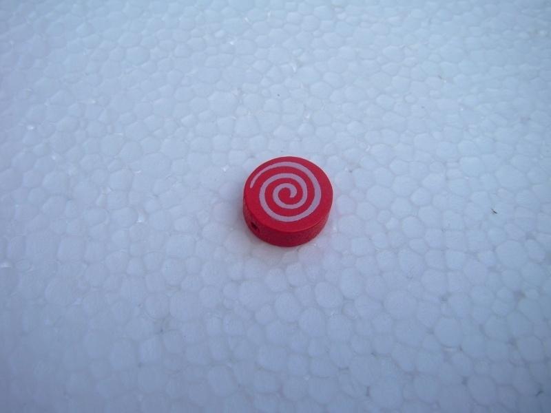 Houten schijf-kraal rood