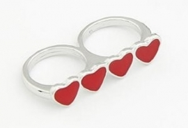 "Ring ""Red Hearts"" Zilverkleurig"