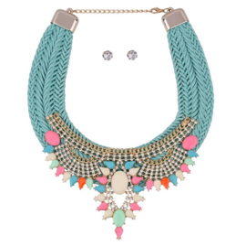 "Statement Ketting ""Braided Turquoise With Stones"""