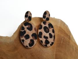 """Luipaard Oorbellen """"Leopard Love"""" Beige"""