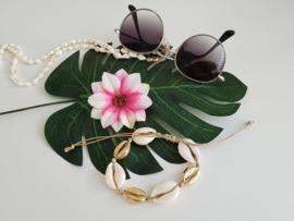"Schelpen Armband / Enkelband ""Gold & Cream Seashells"""