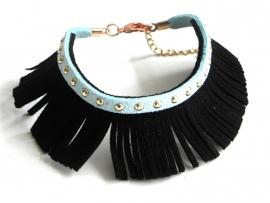 """Armband """"Ibiza Fringe"""" Zwart / Turquoise - Mint"""