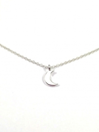 "Maan Ketting ""Crescent Moon""  Zilver Plated 0f 925 Sterling Silver"