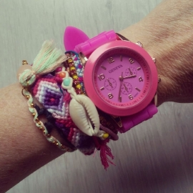 "Horloge ""Watch My Candy Colors"" Hot Pink"