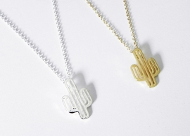 "Ketting ""Cactus"" Silver Plated of Gold Plated"