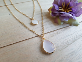 """Dubbele Ketting """"Light Pink Stones"""" Champagne Goud of Zilver"""
