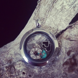 "Floating Locket Ketting ""Silver Too"""