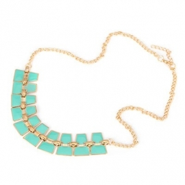 "Statement Ketting ""Double Turquoise Tiles"""