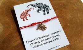 """Wish Armband """"Red Elephant"""""""