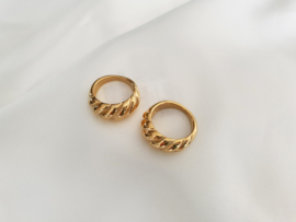 "Croissant Ring ""Golden Croissant"" Stainless Steel"
