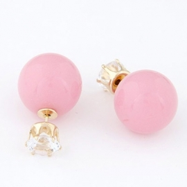 """Double Dot Oorbellen""""Pink Rhinestone"""""""