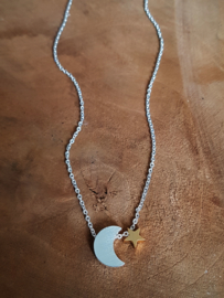 "Subtiele Ketting ""Moon & Star"" Stainless Steel"