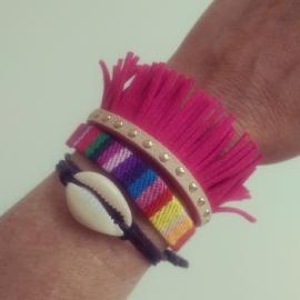 """Armband """"Ibiza Fringe"""" Roze / Lichtbruin"""