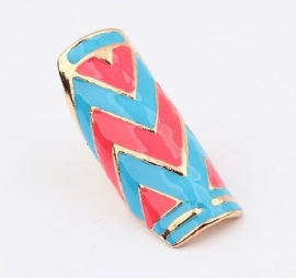 """Ring """"Tribal Colours"""" Roze - Blauw"""