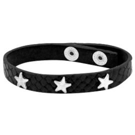 "Lederlook Armband ""Reptile Star Silver"" Zwart"