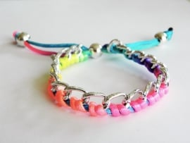"Ibiza Armband ""Braided Curbs"" Zilver & Multicolor"